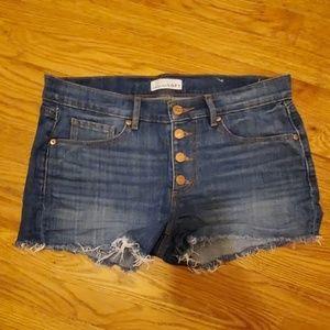 Loft button-fly denim shorts